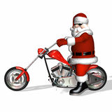 Santa Chopper 3. Santa looking cool with a bit of an attitude on his shiny new red and chrome chopper Royalty Free Stock Image