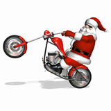 Santa Chopper 4. Santa popping a wheelie on his shiny new red and chrome chopper stock photos