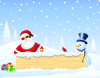 Santa,Christmas bird and Snowman with Christmas Bord Stock Photo