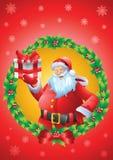 Santa christmas card mistletoe Stock Photos
