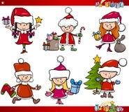 Santa and christmas cartoon set Royalty Free Stock Images