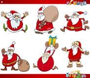 Santa and christmas cartoon set Royalty Free Stock Photography