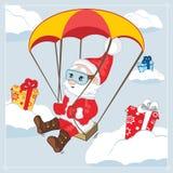 Santa Christmas characters. Vector illustration. Santa Christmas characters float by parachute with gifts. Vector illustration Stock Photos