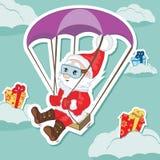 Santa Christmas characters. Vector illustration. Santa Christmas characters float by parachute with gifts. Vector illustration Stock Photography