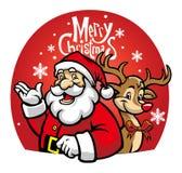 Santa and the christmas deer Stock Image