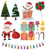 Santa and christmas elements on white background. Illustration Royalty Free Stock Photos