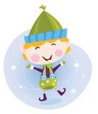 Santa christmas elf in red costume royalty free illustration