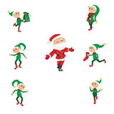 Santa and Christmas elfs Royalty Free Stock Photos