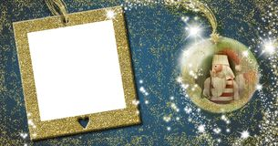 Santa, Christmas frame greeting card. Christmas frame greeting card.  Santa Claus old doll  inside xmax ball on blue background with empty gold frame for write Royalty Free Stock Image