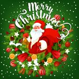 Santa with Christmas gift greeting card design. Santa with gift bag greeting card of Christmas holiday. Santa with New Year present, framed by Xmas wreath of Stock Image