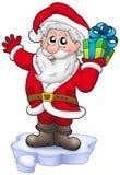 Santa with Christmas gift on iceberg Royalty Free Stock Image