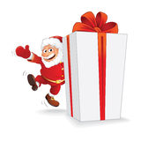 Santa with Christmas Gift. Vector Ready for Design Royalty Free Stock Photo