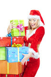 Santa and Christmas gifts Royalty Free Stock Photos