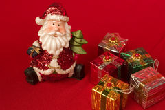 Santa with Christmas gifts. Santa and christmas gifts with copy space Stock Image
