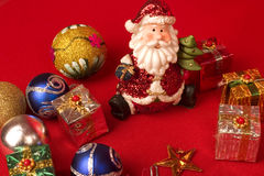 Santa with Christmas gifts. Santa and christmas gifts with decoration Royalty Free Stock Photo