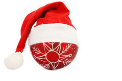 Santa christmas hat and sphere Stock Image