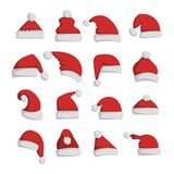 Santa christmas hat vector illustration. Just red christmas santa hat at white background. Cold x-mas symbol fluffy santa christmas hat. Winter white fluffy fur Stock Photography