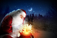 Santa with christmas letter Stock Photo