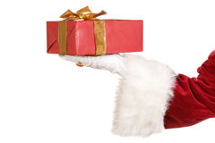Santa with christmas present Royalty Free Stock Photography