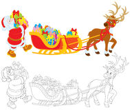 Santa with Christmas presents Royalty Free Stock Photography