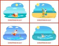 Santa Christmas Relaxing en vector del agua y de la playa libre illustration