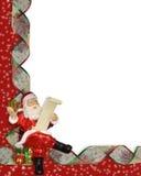 Santa Christmas ribbons border Stock Photos