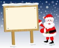 Santa Claus Christmas Sign Blank Snow Royalty Free Stock Image