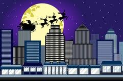 Santa Christmas Sled Sleigh Flying-Nachtstad Stock Afbeeldingen