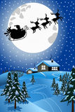 Santa Christmas Sled Sleigh Flying Night. Christmas Night with silhouette of Santa Claus in his sled or sleigh pulled by reindeers flying over winter snowy Royalty Free Stock Image