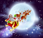 Santa Christmas Sleigh Moon Royalty Free Stock Photos