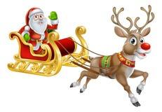 Santa Christmas Sleigh Sled Stockfotos