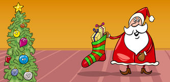 Santa and christmas sock cartoon card Stock Photos