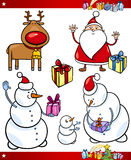 Santa and Christmas Themes Cartoon Set Stock Images