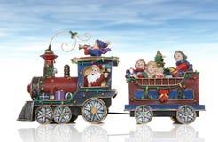 Santa Christmas Train. With Kids Having Fun Stock Image