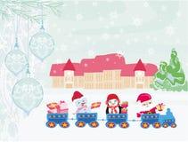 Santa Christmas Train Immagine Stock