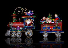 Santa Christmas Train. With Kids Having Fun Stock Images