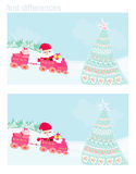 Santa Christmas Train. Find differences Stock Photos