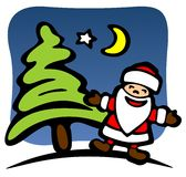 Santa and Christmas tree Royalty Free Stock Photo