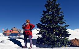 Santa and Christmas Tree Royalty Free Stock Photography