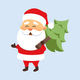 Santa with Christmas tree Royalty Free Stock Images
