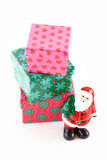 Santa with Christmas tree and gifts Stock Image