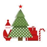 Santa Christmas Tree Presents and a Candy Stock Photos