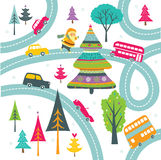 Santa, Christmas tree and winding roads print Stock Images