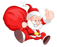 Santa - Christmas Vector Illustration. Creative Drawing Art of Cute Happy Cartoon Kid Santa with Gift Bag Vector Illustration Royalty Free Stock Image