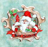 Santa Christmas vintage greeting card Royalty Free Stock Image