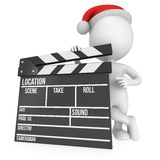 Santa with cinema clapperboard. 3D render  on white. Christmas movies, films and TV broadcast Royalty Free Stock Photos