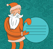 Santa with circle banner Stock Photos