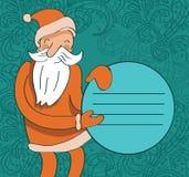Santa with circle banner. Smiling santa holding circle banner - vector illustration royalty free illustration
