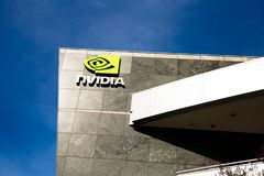 Santa Clara CA, Feb, - 1, 2018: NVIDIA Corp , lider Sztuczna inteligencja, GPU, GeForce, 3D hazard, 3D wzrok obrazy royalty free
