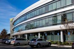 Santa Clara CA - Februari 1 2018: NVIDIA Corp , ledare av konstgjord intelligens, GPU, GeForce, 3D dobbel, vision 3D Royaltyfri Fotografi